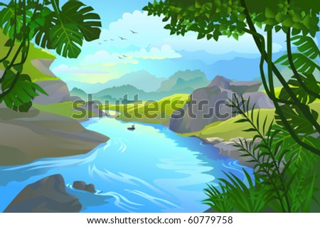 MAN ROWING HIS SMALL BOAT BY MOUTAIN RIVER - stock vector