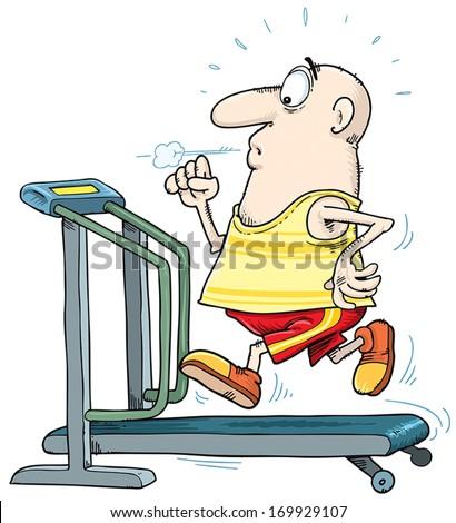 Man run on the treadmill. - stock vector