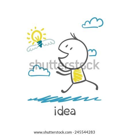 man running behind the idea bulb illustration - stock vector