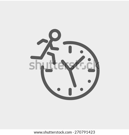 Man running on time icon thin line for web and mobile, modern minimalistic flat design. Vector dark grey icon on light grey background. - stock vector