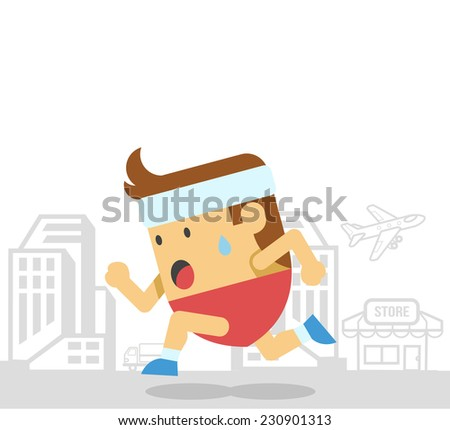 Man runs. Vector flat illustration - stock vector