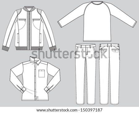 Man's collection technical drawing  - stock vector