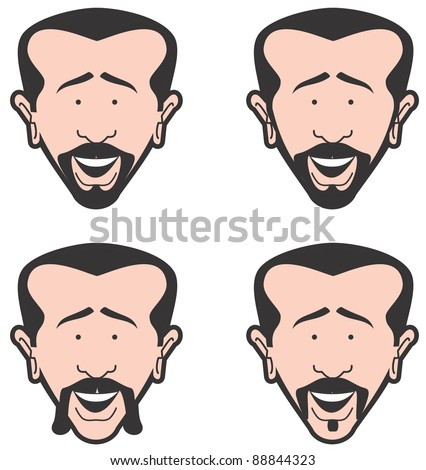 Man's face with different style beard and mustache - stock vector