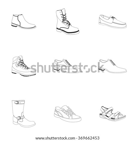 Man's footwear, outline. Man's footwear. Names: biker boot, bootee, business shoe, lase-up, men's sandal,  moccasin, outdoor boots, trainers, trekking boots, outlined. Outlined footwear for men. - stock vector