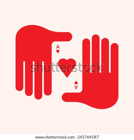 Man's Hand Holding an Ace of Hearts - stock vector