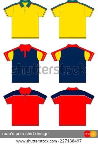 man's polo shirt design - stock vector