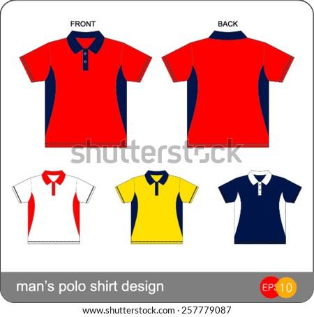 man's polo shirt design Vector template  - stock vector