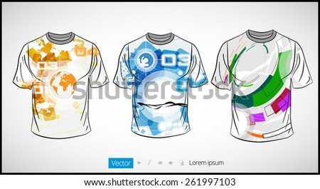 Man's shirt template - stock vector