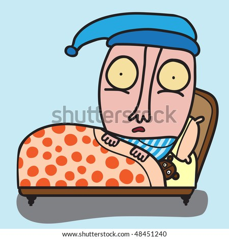 man scared in the bed, or with insomnia - stock vector