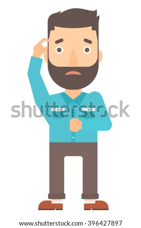 Man scratching his temple with finger - stock vector