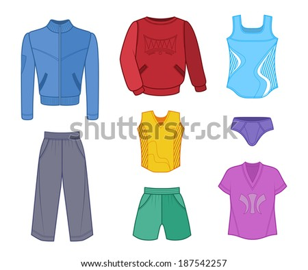 Man set tricot clothes colored isolated on white background. EPS8 - stock vector