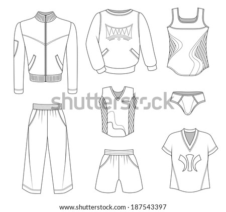 Man set tricot clothes isolated on white background. EPS8 - stock vector