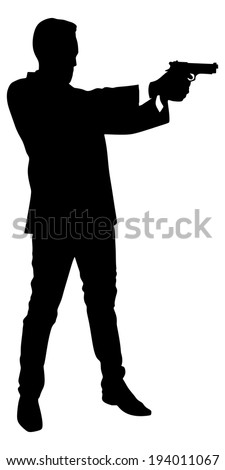 man shooting gun, vector  - stock vector