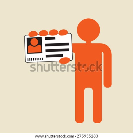 man showing picture ID card to confirm identity  - stock vector