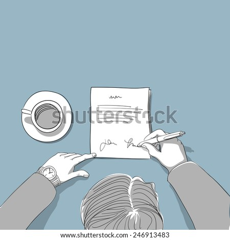 Man signing a contract - hand drawn illustration - stock vector