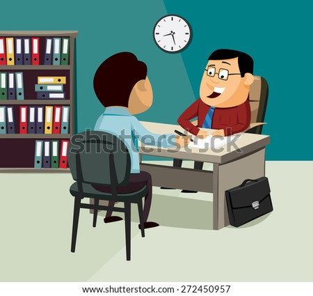 Man signs a contract of insurance. Financial adviser. Vector simple illustration. - stock vector