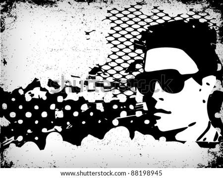 man silhouette in grunge style - stock vector