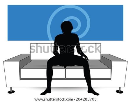man silhouette on sofa - stock vector