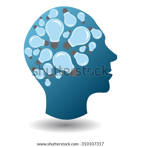 Man silhouette with a lot of ideas in his mind, person in troubles, meditation man, business man - stock vector
