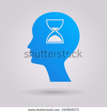Man silhouette with hourglass. The illustration on gray background - stock vector