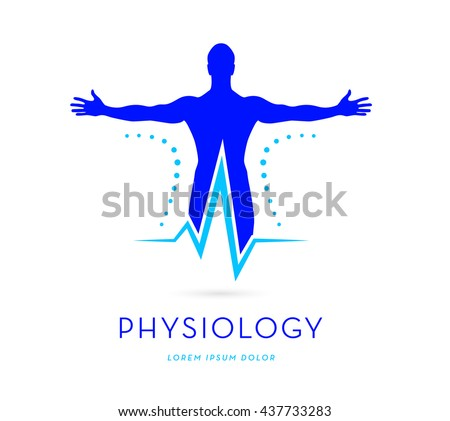 MAN SILHOUETTE WITH STRETCHED ARMS COMBINED WITH HEARTBEAT SYMBOL , VECTOR LOGO / ICON  , BRIGHT SATURATED BLUE COLORS - stock vector