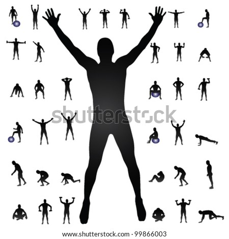 man silhouettes vector illustration - stock vector