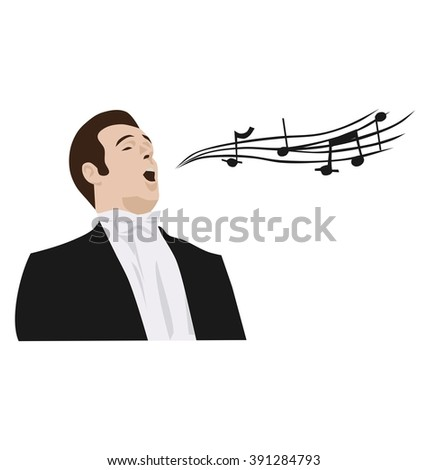 man singing opera, vector - stock vector