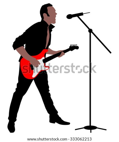 Man singing with a microphone, vector  - stock vector