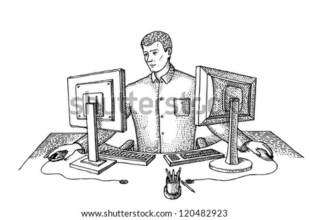 Man sits in the office at two computers - stock vector
