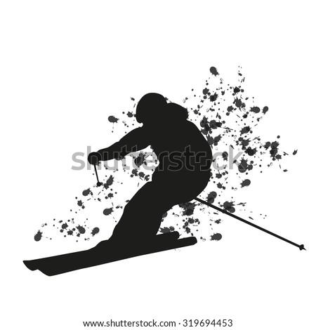 Man skier running downhill. Vector silhouette. Cool freerider - stock vector