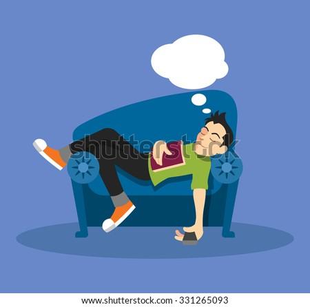 Man sleep on sofa. Vector flat illustration - stock vector