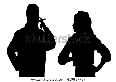 man smoking cuban cigar while beautiful girl standing - stock vector