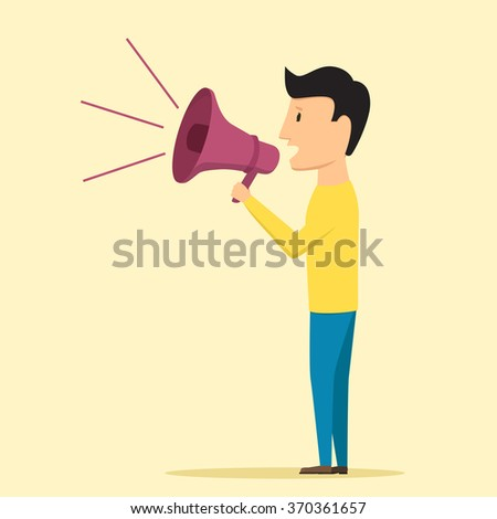 Man speaking through megaphone. Vector illustration. Speaker tells news - stock vector