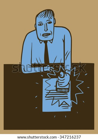 Man stamps a document - stock vector