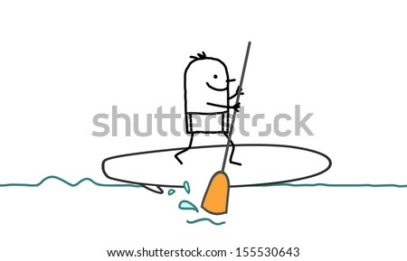 man & stand up paddle - stock vector