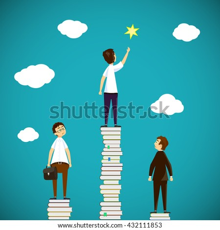 Man standing on a stack of books. Scientific discoveries, and education. Stock vector illustration. - stock vector