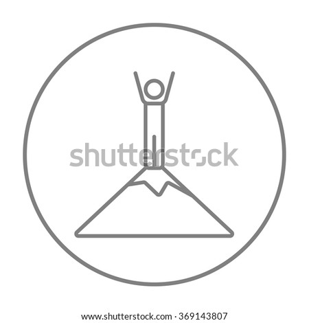 Man standing on top of mountain line icon. - stock vector