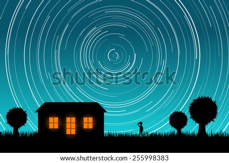 Man Staring at Star Trails in the Night Sky. EPS10 vector - stock vector