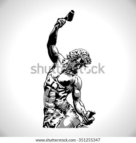 Man statue - stock vector