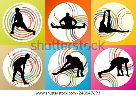 Man stretching exercise warming up and training set vector background concept - stock vector