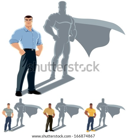 Man Superhero Concept: Conceptual illustration of ordinary man with superhero shadow. The illustration is in 4 versions. No transparency and gradients used.  - stock vector