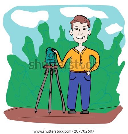 Man surveyor with total station, flat design illustration - stock vector