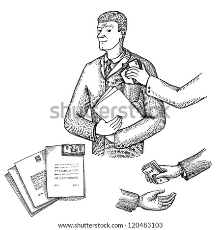 Man takes money - stock vector