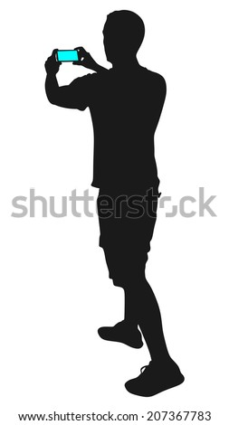 Man taking pictures with his smartphone, vector - stock vector