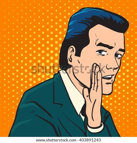 man talking about something interesting. vector illustration - stock vector