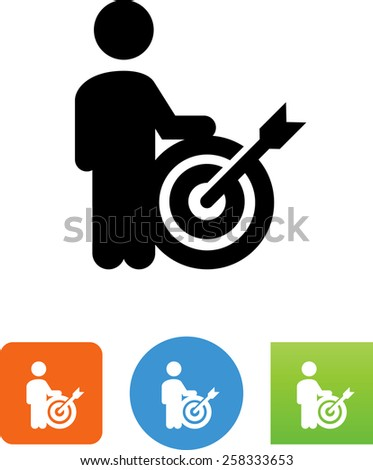 Man, target, arrow and bullseye symbol for download. Vector icons for video, mobile apps, Web sites and print projects.  - stock vector