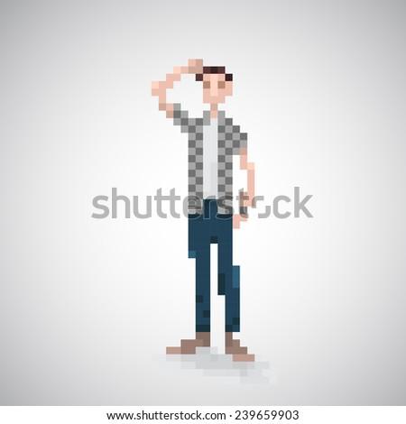 man teenager 8-bit pixelart. - stock vector