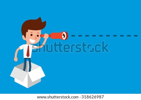 Man thinking out of the box. - stock vector
