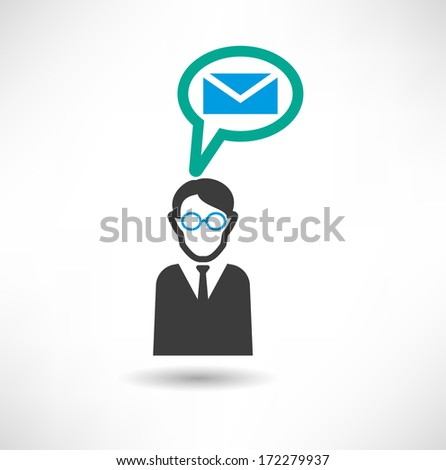 Man thinks about mail. Businessman concept icon - stock vector
