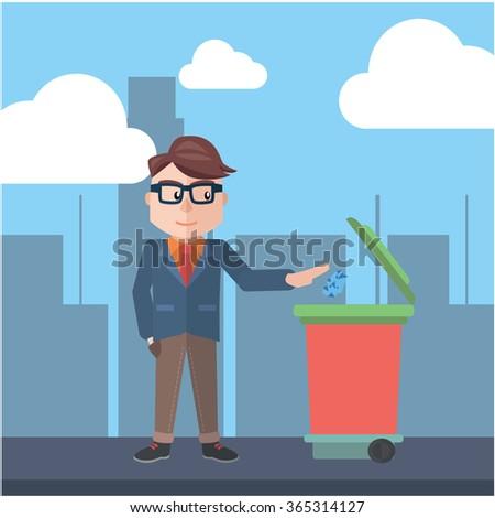 Man throwing trash go green - stock vector